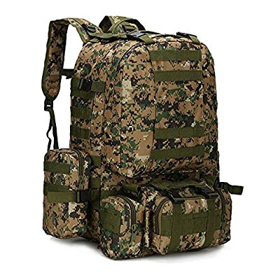 WintMing Military Tactical Backpack 45+10L Army 3 Day Assault Pack Molle Camping Hiking Rucksack Traveling Daypack (B08-Jungle-Camo)