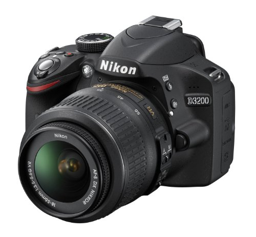 Nikon D3200 SLR-Digitalkamera (24 Megapixel, 7,4 cm (2,9 Zoll) Display, Live View, Full-HD) Kit inkl. AF-S DX 18-55 VR Objektiv schwarz