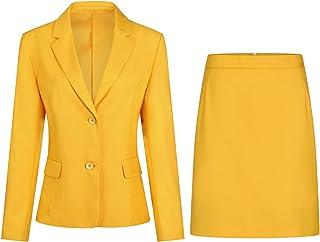 Women's 2 Pieces Skirt Suit Set Long Sleeve Blazer Jacket and Pencil Skirt