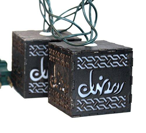 Price comparison product image Ramadan wooden Islamic Calligraphy Arabic Word Design LED String Lights