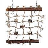 Fdit 1pc jaula pájaro loros juguetes cuerda de cáñamo escalada escalera pájaros natural interesante costura juguete colgante decoración