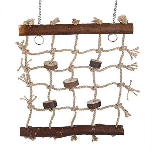Fdit - 1 jaula para pájaros, loro, cuerda de cáñamo, escalera, pájaros natural, interesante juguete de costura, decoración para colgar