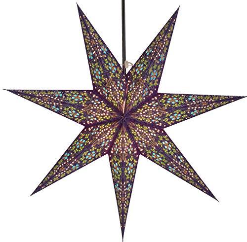Guru-Shop Faltbarer Advents Leucht Papierstern, Weihnachtsstern 60 cm - Efendis Blau, Star Fensterdeko, 7 Spitzen