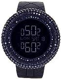 King Master Men's KM-SL Aqua Master Jojino LED Display Quartz Battery Operated Black Matte Resin Watch