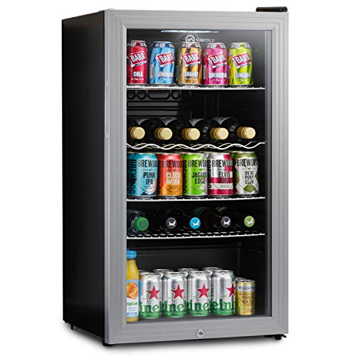 Subcold Super85 LED - Under-Counter Fridge | 85L Beer, Wine & Drinks Fridge | LED Light + Lock and Key | Energy Efficient (Silver, 85L)