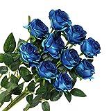 Veryhome 10 pièces Artificielle Roses Fleurs De Soie Faux Bouquets Floraux pour La Décoration De Mariage Maison Décoration De Fête d'anniversaire Jardin Décor (Bleu)