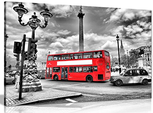 London Canvas Print Black & White Red Bus Canvas Wall Art Picture Print (30x20in)