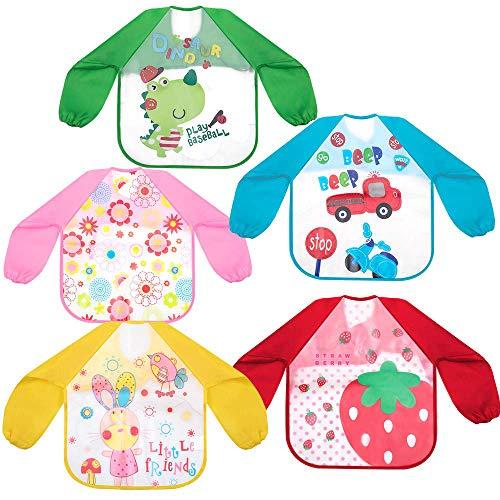 HomeChi Impermeable Baberos del Bebé, paquete de 5 baberos de alimentación de manga larga impermeables Babero de baba de bebé EVA unisex Delantal de pintura para bebés y niños pequeños 1-4 años de edad Diseño de patrón de dibujos animados
