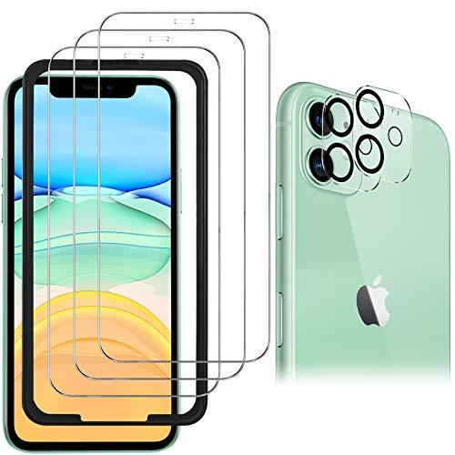 Luibor [6 in 1] Panzerglas + Kamera Panzerglas Kompatibel mit iPhone 11, Anti-Öl Anti-Bläschen Transparenz Fingerabdruck-ID Gehärtetem Glas Displayfolie Panzerglas