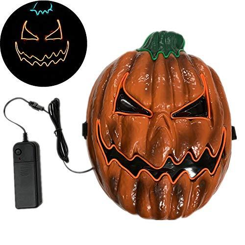 Halloween Maske Scary LED Leuchten Kürbis Gesichtsmasken mit EL Draht Halloween Kostüm Cosplay Masken für Erwachsene Frauen Kinder Kinder Halloween Kostüm Party Dekorationen / Gefälligkeiten / Zubehör
