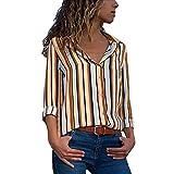 Overdose Blusa para Mujer OtoñO Primavera Nueva Mejor Venta De Moda Casual De Manga Larga Color Block Stripe Button Camisetas Tops (M, Multicolor-B)