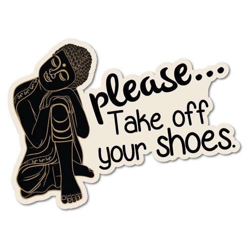 Please Take Off Your Shoes Buddha Sticker Home Decals Stickers