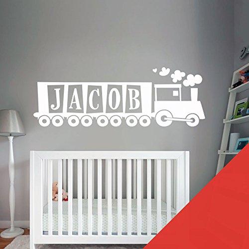 Train, Tank Engine – Chambre de garçon Nom personnalisé Art mural autocollant – [seulement nous envoyer un message avec le nom.], Tomato, Medium (580x150mm)