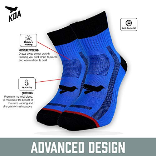 KOA® ELITE Performance Cycling and Running socks, Light compression arch support for Men and Women ¦ All season, sweat wicking, Quick Dry and Breathable sports sock. [BLUE] [EXPOSE]