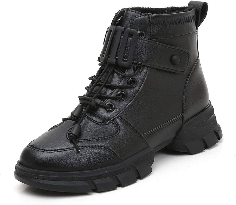 Women's Boots Spring & Fall Martin Boots England Fashion Ladies shoes Warm Cotton Boots Platform shoes White Black (color   Black, Size   37)