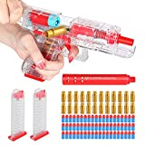 Shell Ejecting Toy Gun Soft Bullet Pistol with Magazine for Kids Clear Transparent White