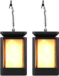 COCOMOX Solar Lights, Outdoor Hanging Solar Lanterns Dancing Flame Flickering LED Waterproof Garden Landscape Night Lights 99 LEDs Yellow Decoration for Patio Lawn Backyard Path Yellow 2 Pack