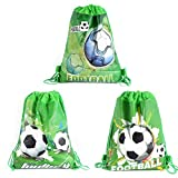 CODOHI 12 Pack Soccer Party Favor Goodie Bags, Treat Gift Drawstring Bag Football