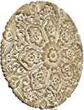 Medallion Lotus Wood Carved Wall Plaque. Bali Tropical Floral Wood Carved Wall Art Home Decor 22' (White Wash)