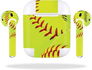 MightySkins Skin Compatible with Apple Airpods 2 (2019) - Softball Collection | Protective, Durable, and Unique Vinyl Decal Wrap Cover | Easy to Apply, Remove, and Change Styles | Made in The USA