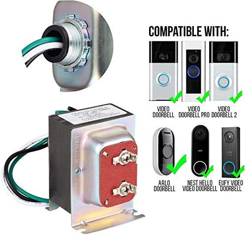 Wasserstein 16V 30VA Doorbell Transformer - Power Supply Compatible with Video Doorbell 1/Doorbell 2/Doorbell Pro, Nest Hello Doorbell, eufy Security Doorbell, and Arlo Doorbell