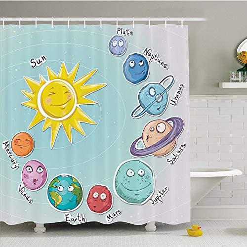 Ditiaodeken badgordijnen schattige cartoon ruimte zon en planeten van zonnestelsel leuk hemeldiagram baby kinderen kinderkamer badkamer douchegordijn