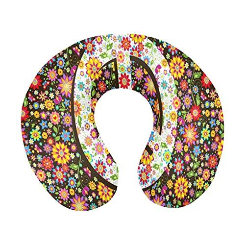 Símbolo de la Paz Floral Hippie con Varias Flores Almohada de Viaje de Espuma viscoelástica en Forma de U para el Cuello para Viajar en avión, autobús, Tren o en casa