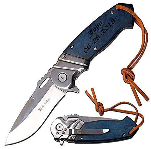 Elk Ridge Personalized Engraving - PAKKAWOOD Handle Spring Assisted Quality Pocket Knife ER-A003BL