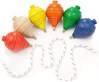 comprar comparacion DISOK Lote de 12 Peonzas de Madera de Colores - Regalos y Detalles para Comuniones, Niños, Niñas, Fiestas de Cumpleaños, T...