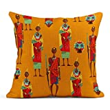Dekokissen Tribe Paar Maasai in traditioneller Kleidung Muster Masai afrikanische Frau Leinen Kissen...