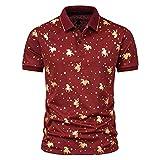 Xmiral Top Camicette Camicie Uomo Estate Cielo Stampa abbronzante Maglietta con Risvolto a Maniche Corte (L,5vino)