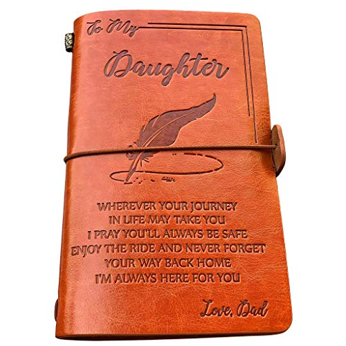 to My Daughter Leather Journal-Enjoy The Ride Writing Journal Drawing Sketch Book,120 Page Travel Diary Refillable Notebook,to Daughter Gift for Birthday Graduation (Dad to Daughter)