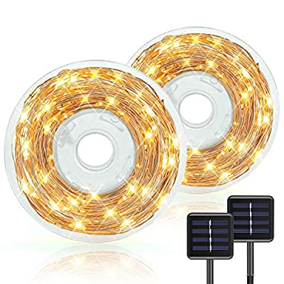 2-Pack Each 94ft 240LED Solar String Lights Outdoor with Storage Set, Bright Solar Powered Fairy Lights 8 Modes Waterproof Outdoor/Indoor Starbright for Patio, Wedding, Yard, Party, Garden