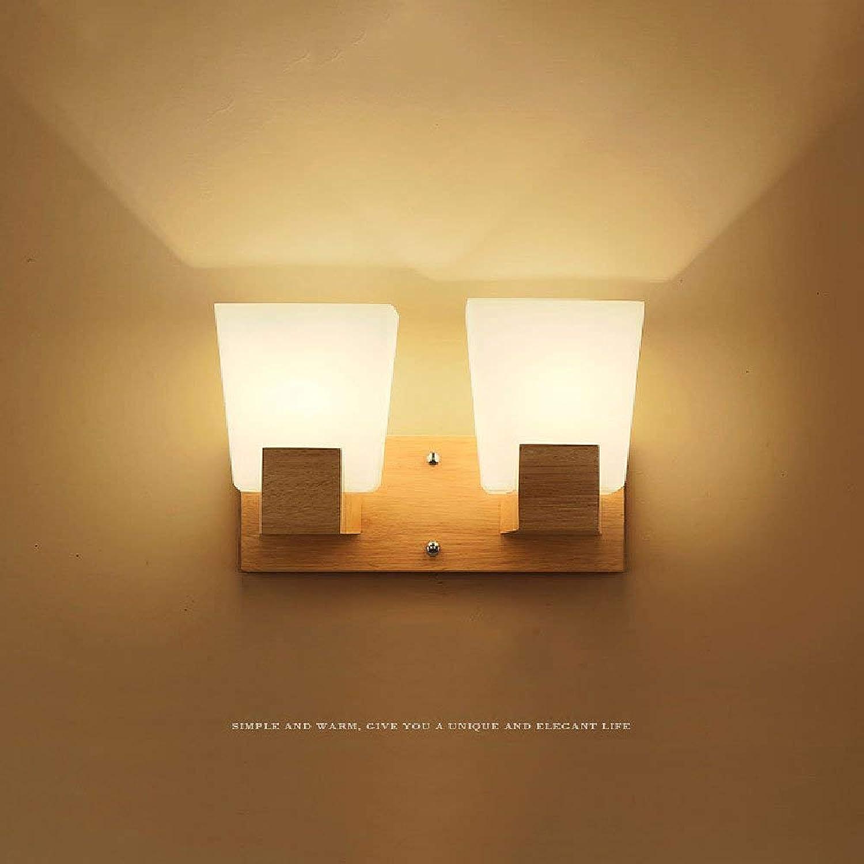 ZYY  Haute Qualité Simple Japonaise Applique En Bois Led En Bois Massif Lampes Allée Mur avec Chambre Lumières En Bois En Verre Mur Lumière Simple Tête Double Tête E27 (Taille  Double Tête)