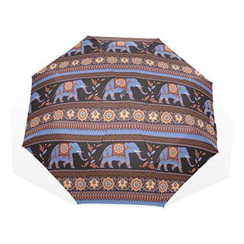 Paraguas 3 pliegues personalizar Elefante indio sin patrón Anti-UV a prueba de viento ligero