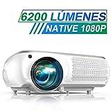 Proyector, TOPTRO 6200 Lúmenes Proyector Cine en Casa Full HD 1080P Nativo 1920x1080 Proyectores HD Soporta Video 4K, Corrección Trapezoidal 4D, Fonction Zoom X/Y ±50°, para Presentación PPT, Blancho