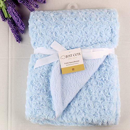 Crystallly babydeken, zachte luifeldeken, voor baby's, baby's, luiers, eenvoudige stijl, kinderdeken, matras, dubbele laag, blauw