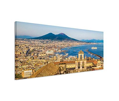 150x 50cm tela su telaio Italia Napoli Stadt am Meer Vulcano Vesuvio estate murale su tela come Panorama