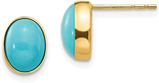 14k Yellow Gold Bezel Set Oval Blue Turquoise Post Stud Earrings Fine Jewelry Gifts For Women For Her