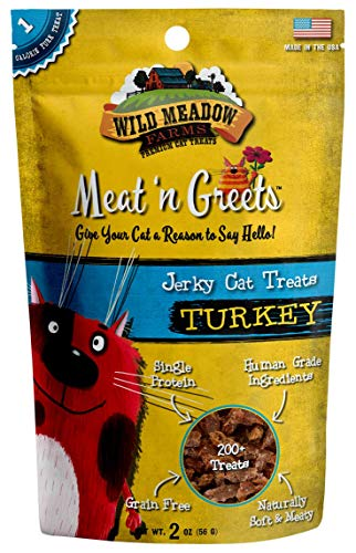 Wild Meadow Farms - Cat Treats - Meat 'N Greets - USA Made Soft Jerky Treats (Turkey)