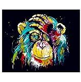ksyklys Art Pintura de Numbers Kit DIY preimpreso Lienzo Pintura al óleo Regalos para niños Adultos decoración de la Pared Color Orangután Marco de Bricolaje 40x50cm