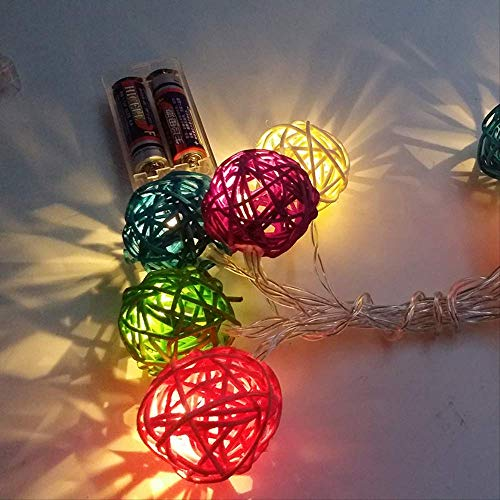 CFLFDC Lichtsnoer, 4 cm, Thailand, rotan kogel, vakantielamp, decoratie, batterij, kleurbox, licht, stopcontact, 5 m35, 220 V, systeem regenboog