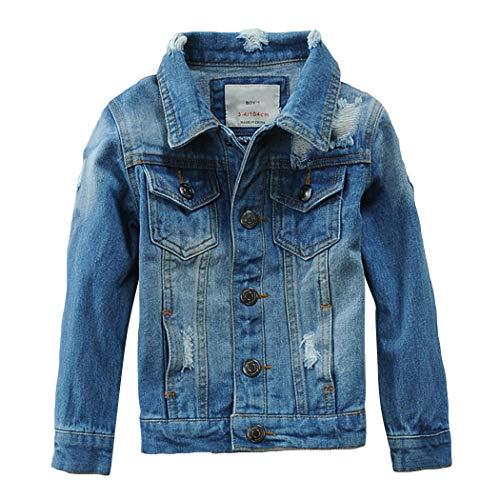 LAUSONS Giacca di Jeans Bambino, Giubbotto Denim con Strappi Ragazzo, Cappotto Primavera Autunno, Azzurro, 11-12 anni/150cm