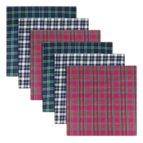 6 Pack Heren Boxed 100% Katoen Tartan Zakdoeken, 40 x 40cm ongeveer, Blauw Groen Rood Wit