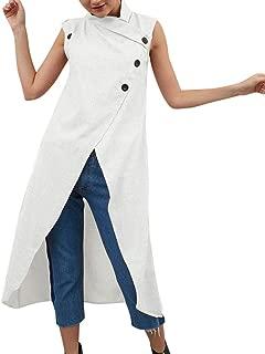 Hosamtel Women Tank Top Plus Size Solid Button Asymmetrical Hem Summer Casual Cotton Linen Sleeveless Split T-Shirt Dress