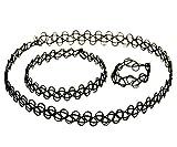 B.Z La Vie Parure de 3 Collier Bracelet Bague pour Femme Noir élastique
