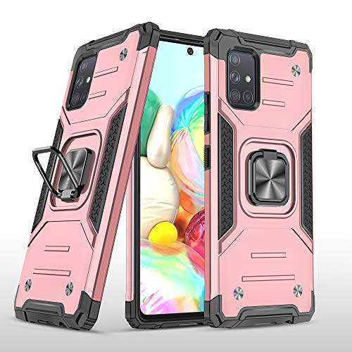 SORAKA Funda para Samsung Galaxy A71 4G con Anillo,Carcasa a Prueba de Golpes,Borde de Silicona Suave,Cubierta Trasera rígida de PC con Placa de Metal para Soporte magnético para teléfono móvil