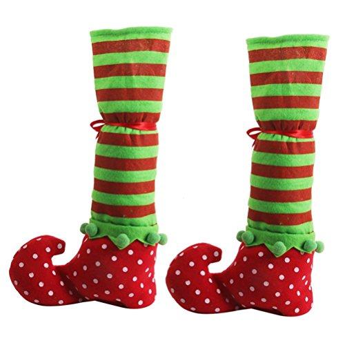 WINOMO Paar von Weihnachten Tisch Bein umfasst Elf Elfen Füße Schuhe Beine Party Dekorationen