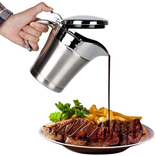 500ml Acero Inoxidable Doble Aislado Salsa Barco/Salsa Jarra con Tapa, Almacenamiento Para Salsa o Crema, Usado en el Hogar & Cocina - 1pc (Sólo Salsa Jarra), free size