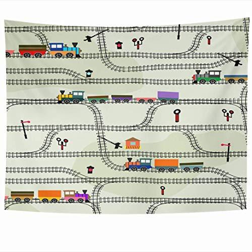 Tapices para colgar en la pared Diseño divertido Patrón de telón de fondo a rayas para niños Resumen Locomotoras de ferrocarril Transporte Coche Tapiz vintage Manta de pared Decoración para el hogar S